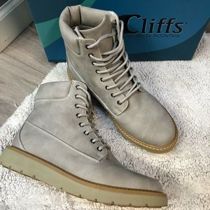 Grey hiking boots